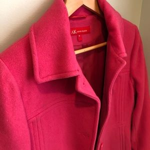 Anne Klein raspberry Pink wool peacoat size med